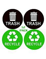 """(12 Pack) 4"""" X 4"""" Recycle Sticker Trash Can Sign Decal -Premium Self Adhesive Vinyl-Coordinate Garbage Waste from Recycling-Indoor & Outdoor"""