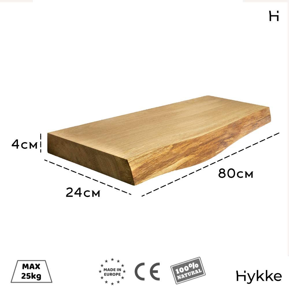 ecol/ógica Estanter/ía de pared flotante con borde de madera de roble fabricada en la UE 80 cm Hykke