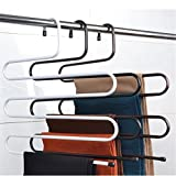 Magic Metal Multi Layer Pants S Hanger Trousers Holder No Slip Closet Hangers Space Saver Clothes Scarf Storage Hanging Rack Black