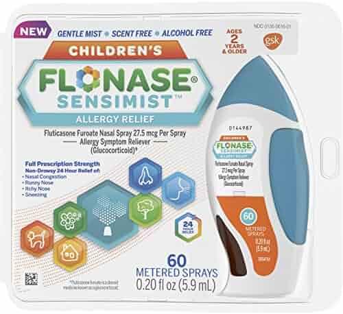 Flonase Children's Sensimist 24hr Allergy Relief Nasal Spray, Gentle Mist, Scent-Free, 60 sprays