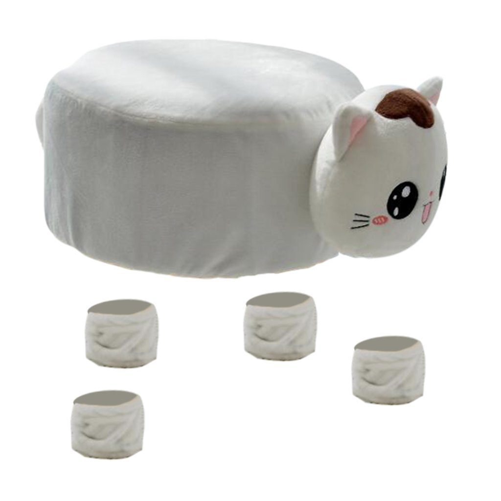 Fityle Cute Round Chair Stool Cover Children's Chair Cover with Animal Shape - 30CM (12-Inch) Diameter - Cat