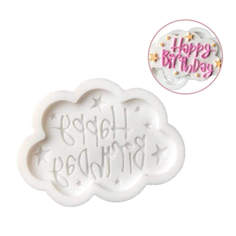 Happy Birthday DIY Silicone Mold Fondant Cake Chocolate Decorating Baking Tool - Random Color