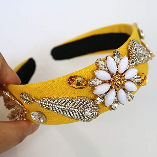 Empress Crystal Pendant - Crown Tiara Diadem Crown Retro Baroque Flower-Type Women Girls Crystal Jewelry Yellow Leaf Pendants Wide Hoop Headband Girl Wedding Hair Accessories