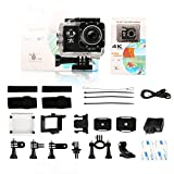 Action Camera 4K Ultra HD WiFi Best Video Camera for Sports 16MP 170 Degree Wide Angle 2.0 Inch Waterproof Diving Camera with 2 Batteries and 19 Accessories Kit Included Black