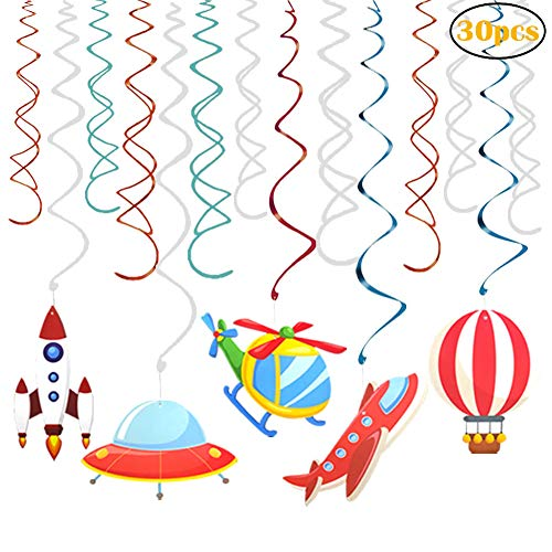30 Ct Outer Space Hanging Swirl Party Decorations for Outer Space Solar System Airplane Hot-air Balloon Themed -