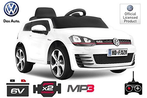 Kinder Elektro Auto VW Golf 7 GTI 2x30W 12V Elektroauto Kinderfahrzeug Ferngesteuert Elektro (Weiss) 1191186