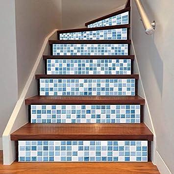 Conjunto De 6 Piezas Pegatinas De Escaleras Blanco Azul Brisa Marina Mosaico Escalera Decoración Escalera Etiqueta Mural Papel De Diy Decoración De La Sala 18 * 100cm: Amazon.es: Bricolaje y herramientas