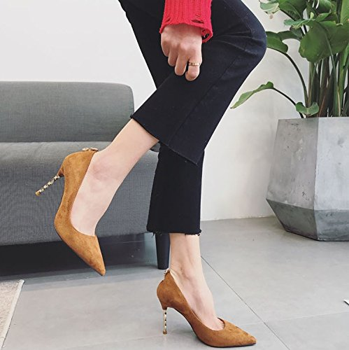 Leisure Work A All High Look 9Cm Thin Shoes With Work Fine 34 MDRW Shoes Elegant Heels Point Spring Lady Brown Shoes Fashion Temperament Match fqnxwtES