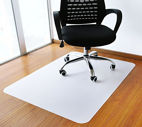 Polytene Office Chair Mat, 47''x35'', 1.8mm thick Hard Floor Protection with Rectangular Shaped Anti Slide Coating on the Underside,White,Thickness 1.8mm by Tikteck