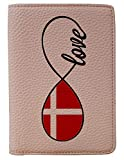 [OxyCase] Designer Light Weight PU Leather Passport Holder Cover/Case - Infinity Love Denmark Flag Design Printed Cute Travel Wallet for Girls/Women
