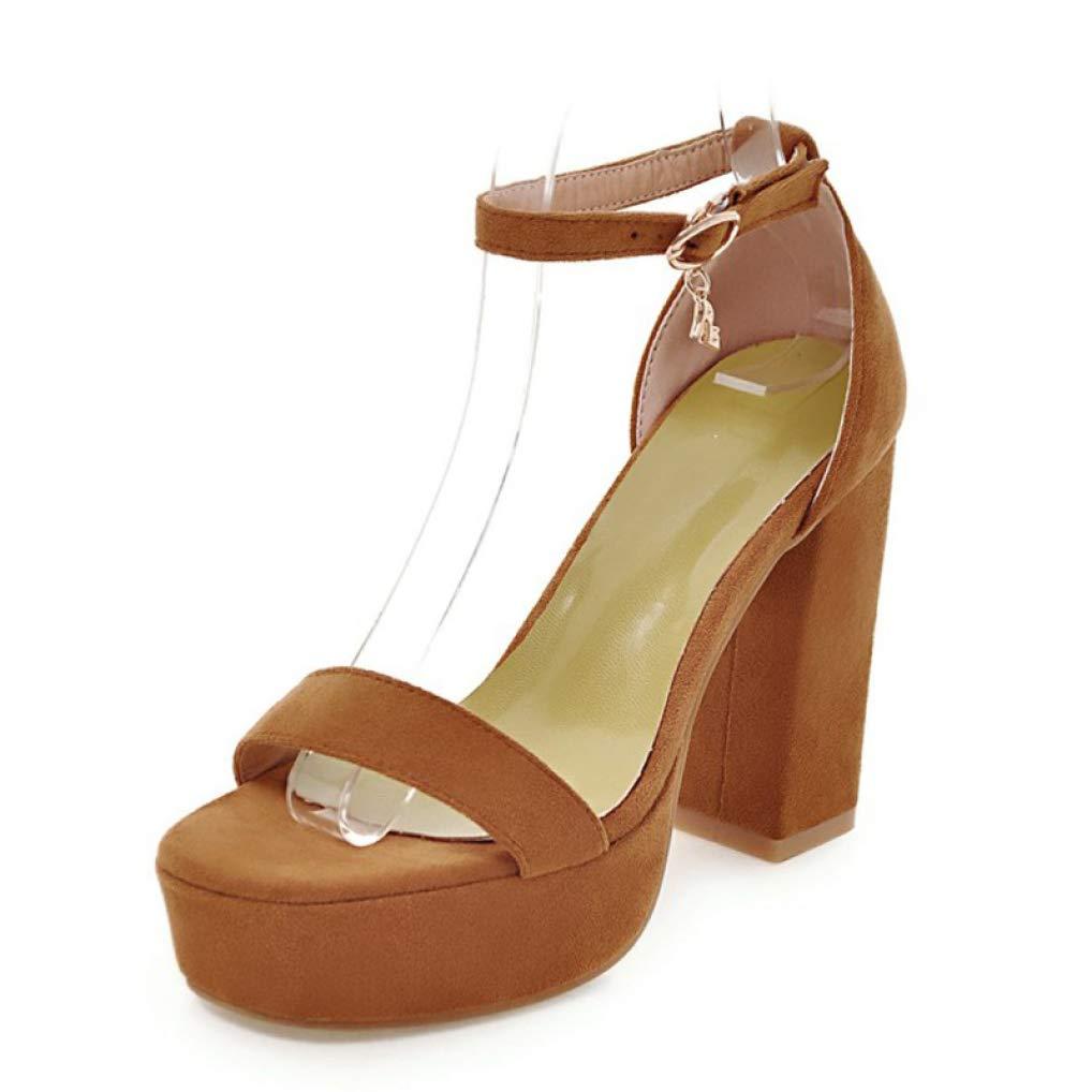 YELLOW MEIZOKEN Women's Chunky Heel Platform Sandal Comfort Open Toe Ankle Strap High Heel Pump Party Sandals