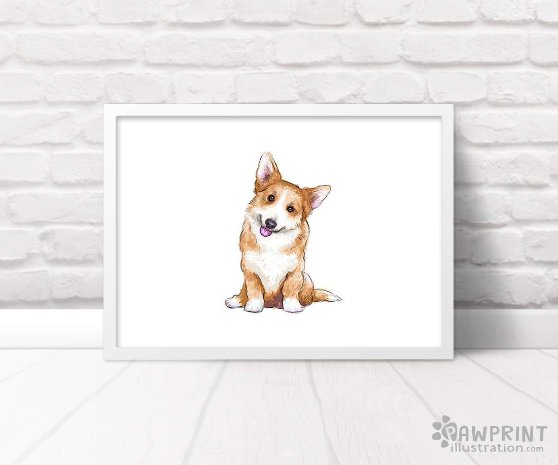 Set of 3 Dog Prints Corgi Nursery Prints by Pawprint Illustration Frames not included