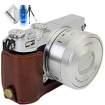 First2savvv marron oscuro Funda Cámara cuero de la PU cámara digital bolsa caso cubierta para Nikon 1 J5 + 1 x Paño de limpieza + Lector de tarjetas ...