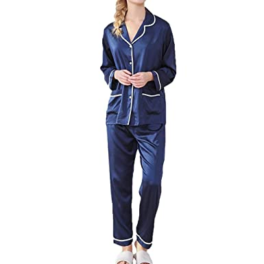 9611f5445d29 Pajamas for Women Long Sleeve Two Piece Set Soft Button Down Sleepwear with  Pockets (M