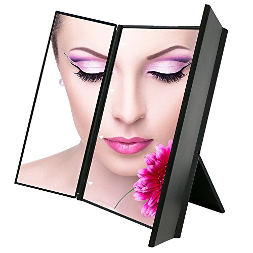 Travel Mirror, Bukm Tri-Fold Lighted Led Mirror / - Makeup Travel Mirror