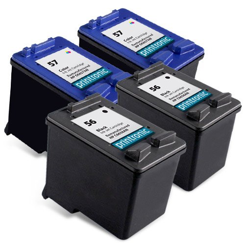 Printronic 4 Pack Remanufactured HP 56 57 Ink Cartridge for PSC 1315 1210 1350 Deskjet 5550 5150 450 5650 PhotoSmart 7760 Printers (2 Black 2 Color)