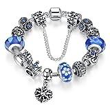 Bamoer Queen European Style Blue Snowflake Murano Glass Bead Heart Dangle Charm Bracelet Jewelry Gift 18cm/20cm