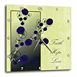 3dRose Inspirational Faith, Hope and Love Purple Flowers – Wall Clock, 13 by 13-Inch (dpp_79110_2)