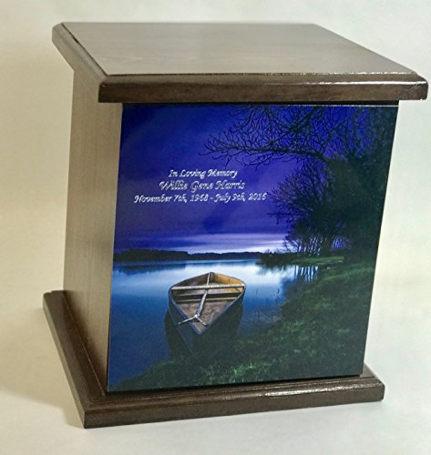 Boat Wooden Cremation Urn, Wood Funeral Urns, with Personalization by NWA (Image #2)