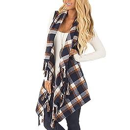 Inorin Womens Sleeveless Plaid Asymetric Hem Tassel Drape Open Front Cardigan Vest