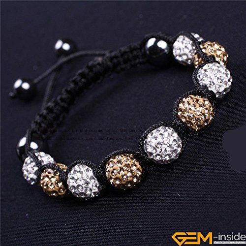 GEM-inside Clear Champagne 2 Colors Pave Shine Crystal Beads Hand-Woven Bracelet Adjustable