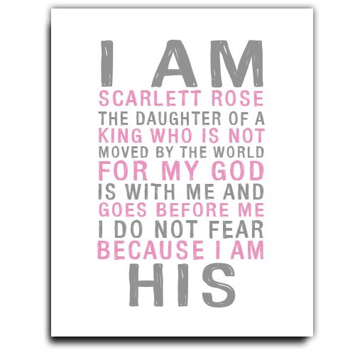 I am His Print | Girls Wall Art | Girl Monogram | Baby Girl Gift | Personalized Baptism Gift | Christening Gift | Religious Gift | Christening Present | Baptism Present | First Communion