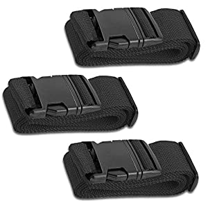 HeroFiber Black Luggage Belts Suitcase Straps Adjustable and Durable, Travel Case Accessories, 3 Pack