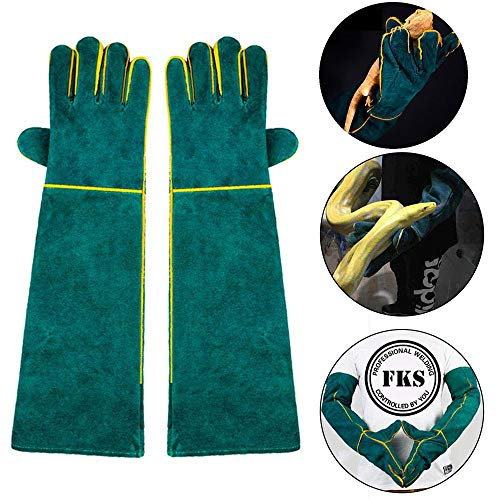 (AUOKER Animal Handling Gloves Bite Proof, 23 Inch Durable Bite Resistant Gloves for Bathing, Grooming, Handling Dog/ Cat/ Bird/Snake/ Parrot/Lizard/ Reptile - Scratch/Bite Resistant Protection Gloves)