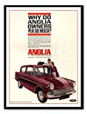 Iposters Ford Anglia Car Advert Print Magnetic Memo Board Black Framed - 41 X 31 Cms (approx 16 X 12 Inches)