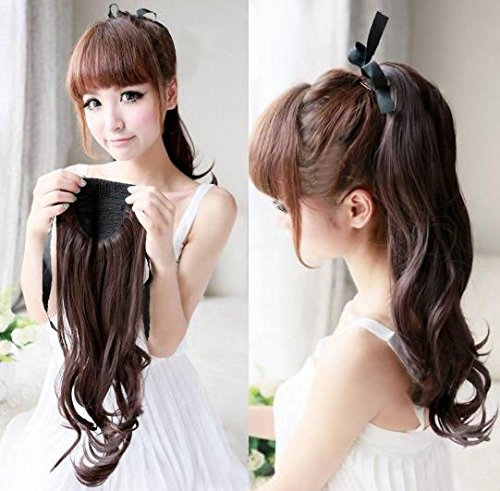 CCbeauty Womens Ponytail Cilp in Hair Extensions Long Curly Wave Pony Tail Hairpiece Chestnut Brown