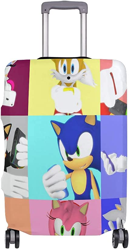 Sonic Cartoon Hedgehog Travel Luggage Cover Suitcase Protector Fits 26-28 Inch Washable Baggage Covers