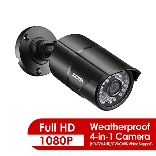 ZOSI 2.0 Megapixel HD 1080P 4 in 1 TVI/CVI/AHD/CVBS Security Cameras Day Night Waterproof Camera 100ft IR...