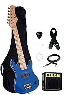"Raptor EP3 30"" Kids 1/2 Size Electric Guitar Package with Portable 3W Amp, Gig Bag, Strap, Cable and Raptor Picks - BLUE"