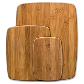Farberware 5070344 Bamboo Cutting Board, Set of 3, 26 VERSATILE: These bamboo cutting board have a reversible cutting surface perfect for every food prep, from slicing fruit to chopping veggie and is a perfect kitchen starter set, housewarming gift or back to school essential. PERFECT FOR SERVING SNACKS, CHEESE & CRACKERS: These wooden boards can also be used as a serving platter for cheese, meats, olives, breads and any other appetizer PREMIUM BAMBOO: Bamboo is a stronger, natural alternative to wood, easy on knife blades, it is substantially stronger than hard woods and is environmentally friendly; bamboo is one of the most renewable resources in the world