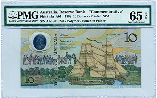 Pmg Superb Gem (1988 No Mint Mark Australia $5 Banknote Polymer - PMG 65 EPQ - GEM Uncirculated - WORLD'S FIRST POLYMER BANKNOTE - EVER! $5 PMG 65)