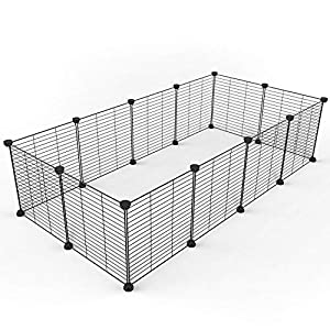Tespo Pet Playpen, Dog Puppy Cat Pen, Small Animal Cage Indoor Portable Metal Wire Yard Fence for Small Animals, Guinea Pigs, Rabbits Kennel Crate Fence Tent Black 15 X 12 Inches 46