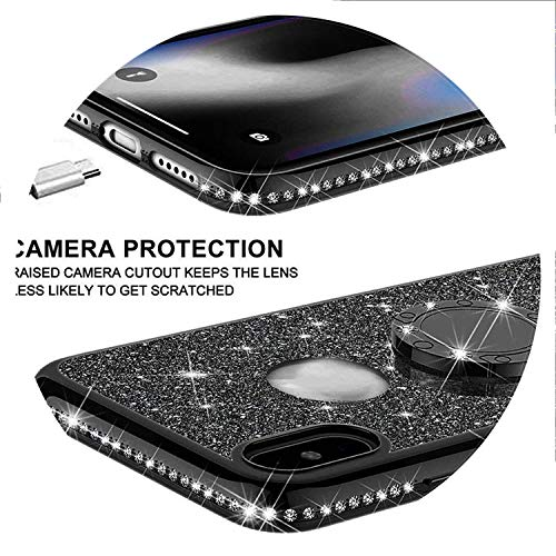 Luxury Bling Diamond Phone Case for Huawe Mate 20 Lite Plating Glitter Soft Cover for Huawe P20 Lite P20 Pro Mate 10 lite Case,Black with Holder,P20 Lite ()