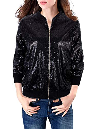 VIJIV Womens Casual 3/4 Sleeves Sequin Blazer Jacket Front Zip Short Bomber Jacket Coat Party Night Sexy Black S 3/4 Sleeve Zip Jacket