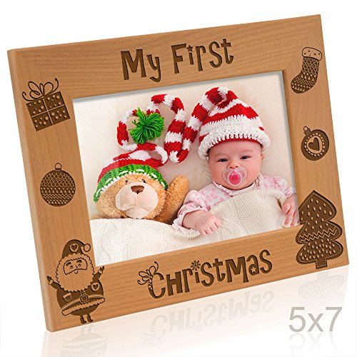 Kate Posh My 1st Christmas Picture Frame, My First, Baby's 1st Christmas, New Baby, Santa & Me Engraved Natural Wood Photo Frame (5x7-Horizontal - Vintage) (Christmas Picture Frames 5x7)