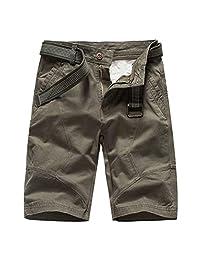 Mens Shorts Casual Elastic Waist Drawstring Zipper Pockets Shorts