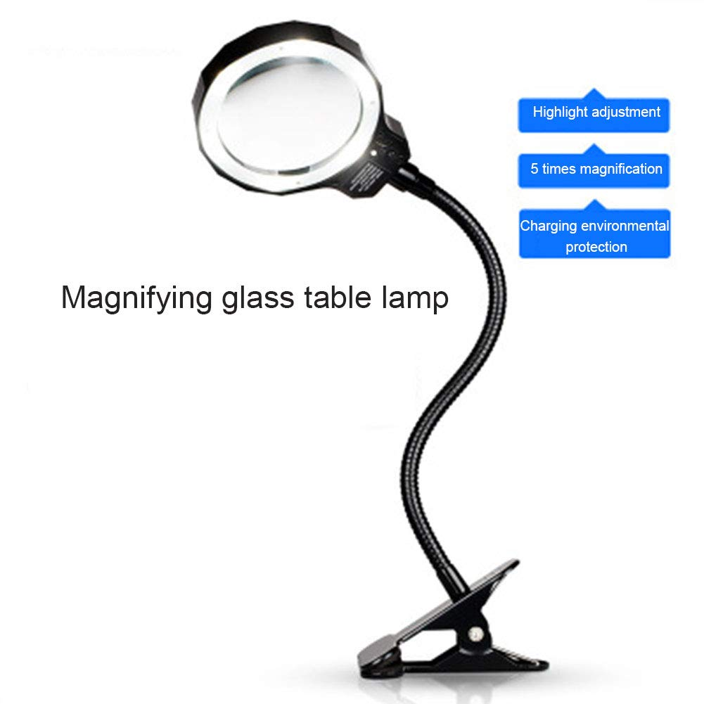 WQING Lupenleuchte 5X LED Clip Lupenleuchte Helligkeit Einstellbar Freies Biegen Lesen Beleuchtung Reparatur Lupe Licht