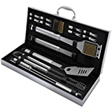 Home-Complete BBQ Grill Tool Set- 16 Piece Stainless Steel...