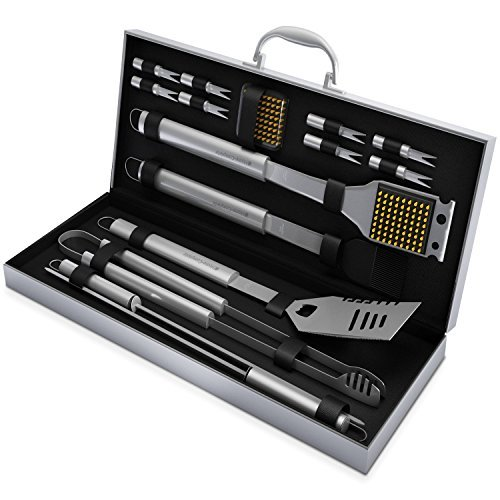 Home-Complete BBQ Grill Tool Set- 16 Piece Stainless Steel Barbecue Grilling Accessories with Aluminum Case, Spatula, Tongs, Skewers - Gas Grill Set