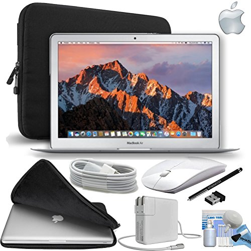 Apple MacBook Air 13.3″ 128GB SSD Notebook Laptop [Mid-2017 – Newest Version] Gift Bundle with Fitted Carrying Case, White Wireless Mouse,eDigitalUSA Stylus and more…