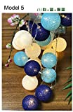 Model 5, 20 balls : Szvfun LED Garland Cotton Ball Light 20 Cotton Balls String Light Chain Thai Christmas Lights Indoor Battery Wedding Decorations
