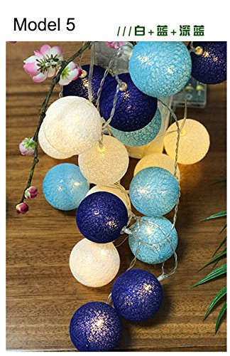 Model 5, 20 balls : Szvfun LED Garland Cotton Ball Light 20 Cotton Balls String Light Chain Thai Christmas Lights Indoor Battery Wedding Decorations by Generic