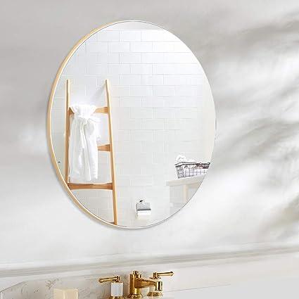 4ever Beauti Badezimmer Spiegel Rund Wandmontage Badezimmerspiegel 61 Cm Modern Mattiertes Goldenes Metallrahmenspiegel Fur Wanddekoration Waschtisch Wohnzimmer Schlafzimmer Amazon De Kuche Haushalt