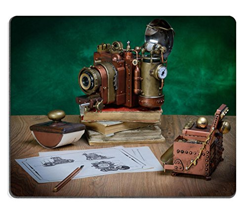 Liili Mouse Pad Natural Rubber Mousepad IMAGE ID: 24679850 Photo camera and drawing on a wooden table Style Steampunk