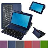 Mama Mouth Coustom Design Slim Stand PU Leather Case Cover with Romovable Bluetooth Keyboard for New Dell Venue 10 5050 Android Tablet/Venue 10 Pro 5055 Windows Tablet,Blue