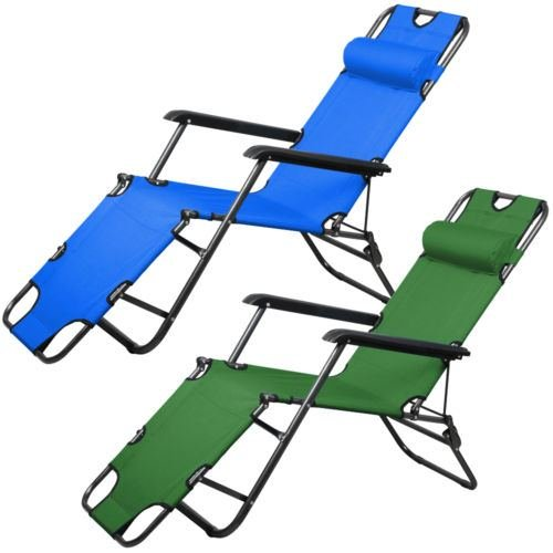 Nikkycozie 2 Foldable Chaise Metal Lounge Chair Patio Outdoor Pool Beach Lawn Recliner For Sale